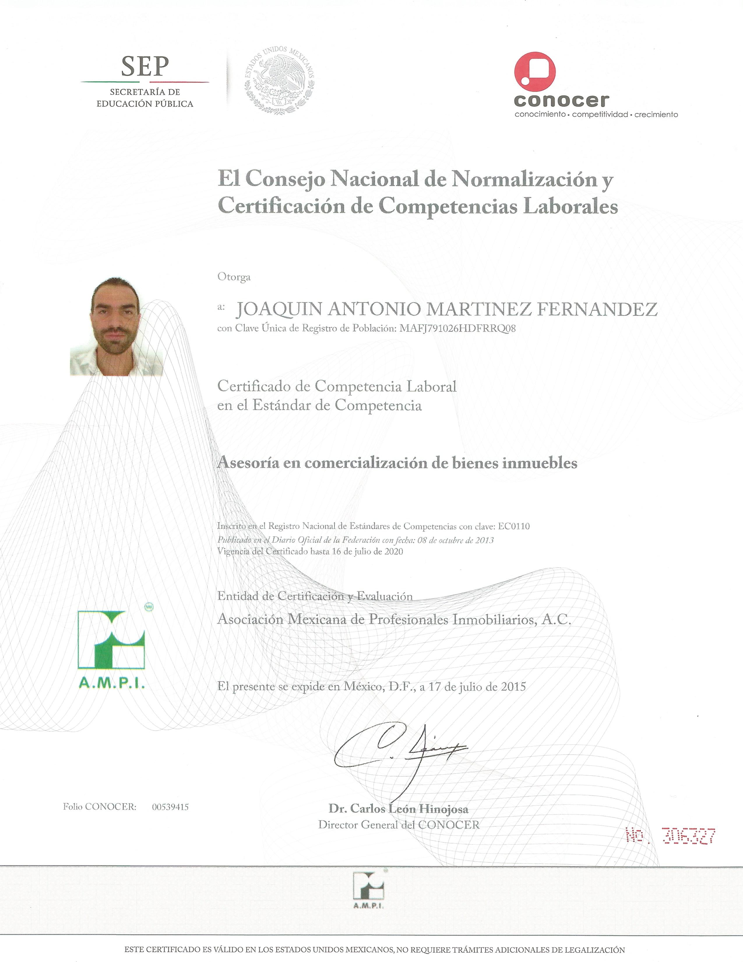 Certificación Inmobiliaria